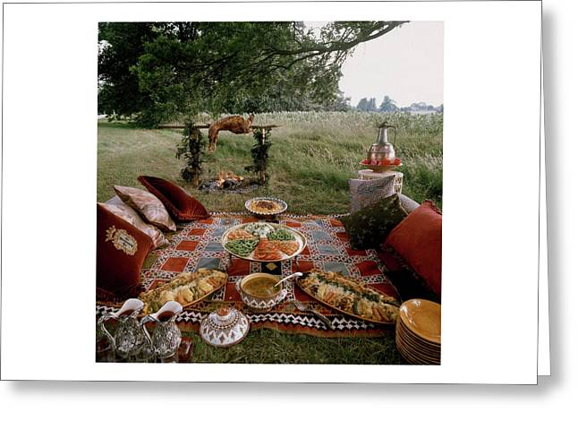 Robert Carrier's Moroccan Picnic In A Field Greeting Card