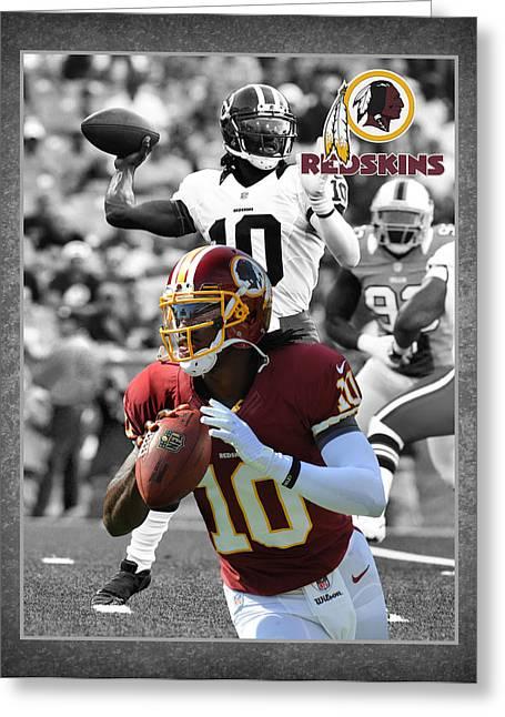 Robert Griffin Rgiii Redskins Greeting Card by Joe Hamilton