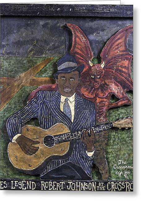 Robert Johnson At The Crossroads Greeting Card by Eric Cunningham