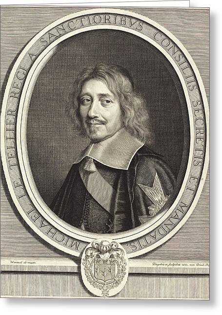 Robert Nanteuil French, 1623 - 1678, Chancellor Michel Le Greeting Card by Quint Lox