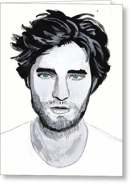 Robert Pattinson 88 Greeting Card by Audrey Pollitt