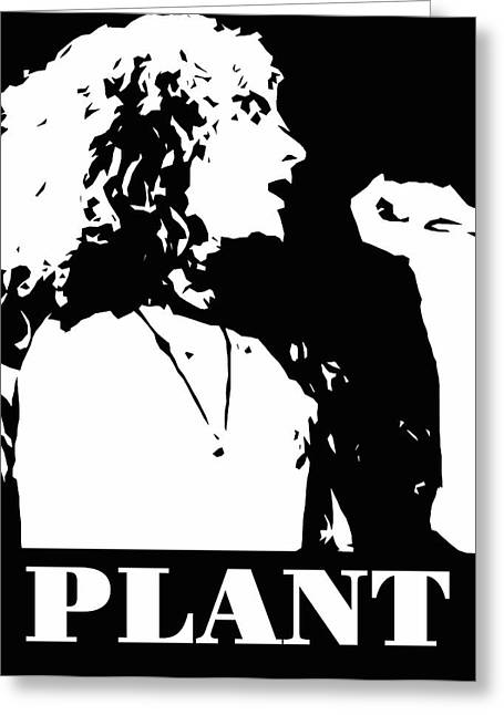 Robert Plant Black And White Pop Art Greeting Card by David G Paul