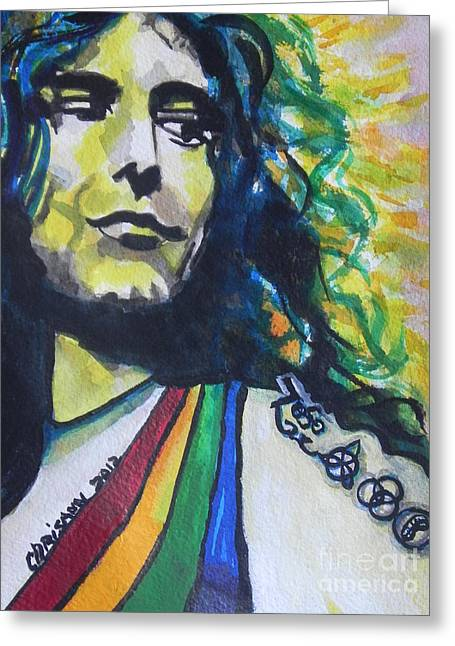 Robert Plant.. Led Zeppelin Greeting Card by Chrisann Ellis