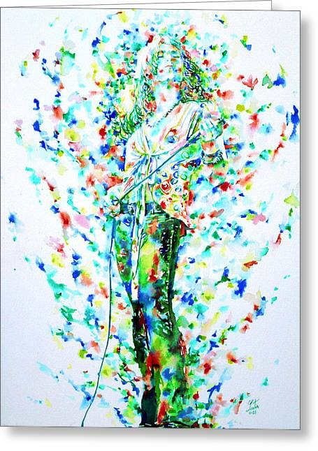 Robert Plant Singing - Watercolor Portrait Greeting Card by Fabrizio Cassetta