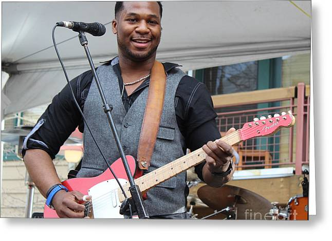Greeting Card featuring the photograph Robert Randolph  by Fiona Kennard