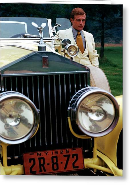 Robert Redford By A Rolls-royce Greeting Card by Duane Michals