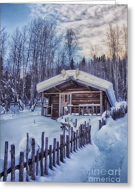 Robert Service Cabin Winter Idyll Greeting Card