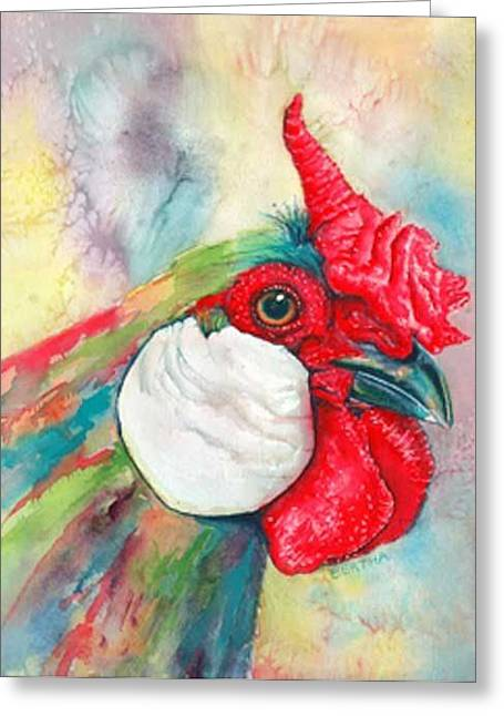 Greeting Card featuring the painting Roberto Rooster Radiates by Karen bertha Calderon
