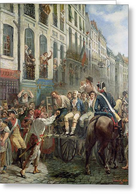 Robespierre 1758-94 And Saint-just 1767-94 Leaving For The Guillotine, 28th July 1794, 1884 Oil Greeting Card by Alfred Mouillard