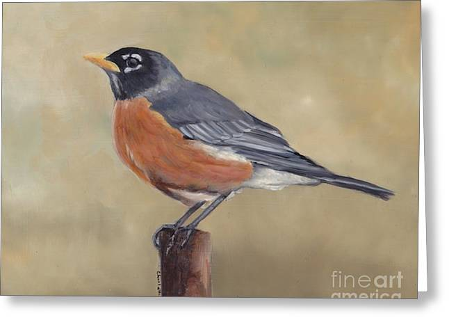 Robin Greeting Card by Charlotte Yealey