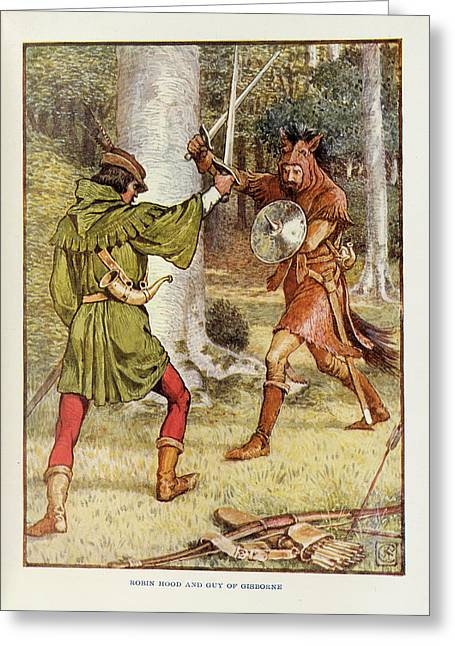 Robin Hood And Guy Of Gisborne Greeting Card by British Library