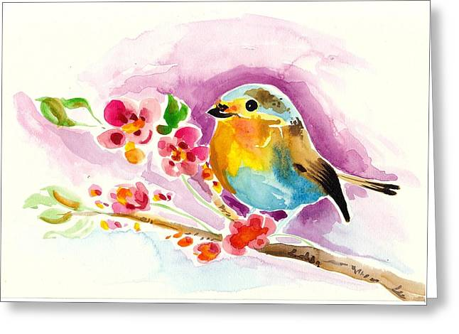 Robin In Flowers Greeting Card by Tiberiu Soos