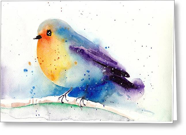 Robin In Snow - Winter Art Bird Greeting Card