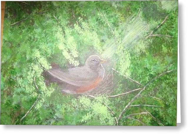 Robin On Her Nest Greeting Card