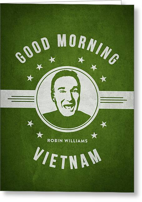 Robin Williams - Green Greeting Card by Aged Pixel