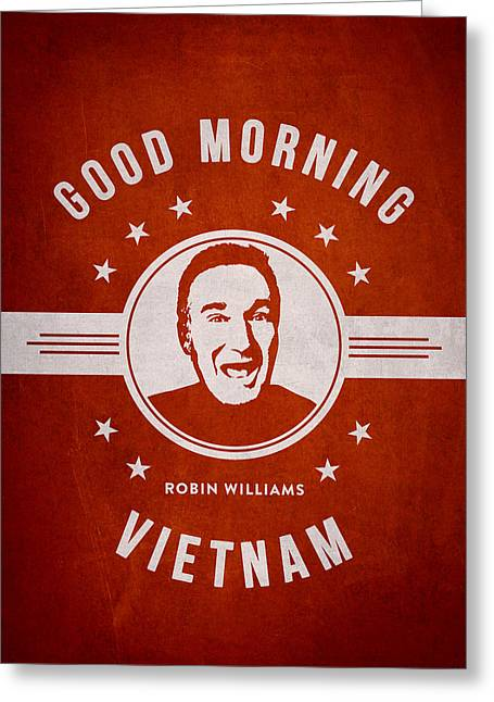 Robin Williams - Red Greeting Card by Aged Pixel