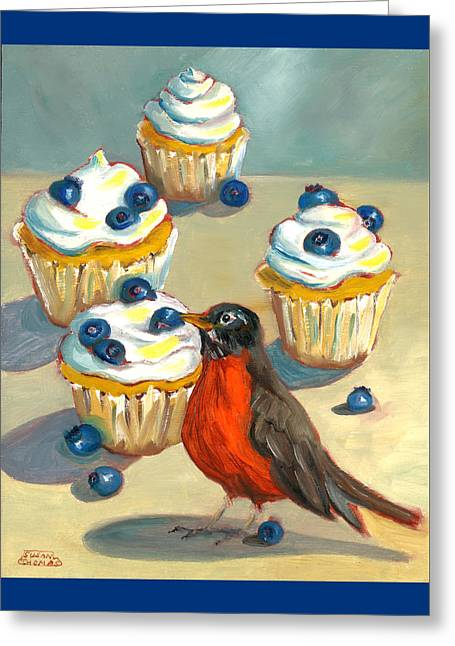 Greeting Card featuring the painting Robin With Blueberry Cupcakes by Susan Thomas