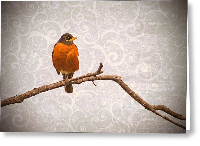 Greeting Card featuring the photograph Robin With Damask Background by Peggy Collins