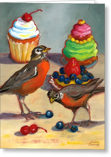 Robins And Desserts Greeting Card
