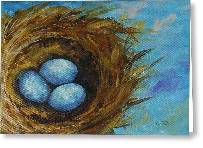 Robin's Three Eggs Viii Greeting Card