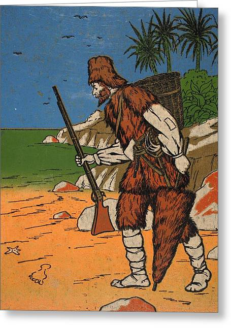 Robinson Crusoe, Illustration From The Greeting Card by English School