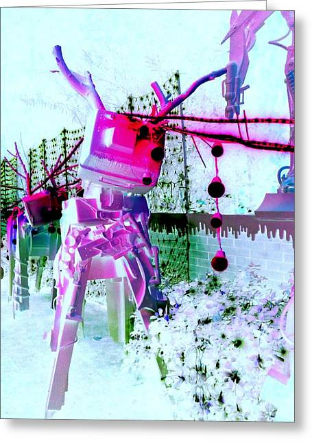 Robo Reindeer Greeting Card by Randall Weidner