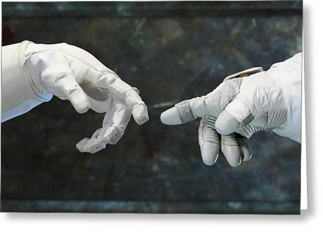 Robonaut And Astronaut Greeting Card