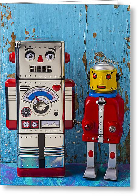 Robot Friends Greeting Card by Garry Gay