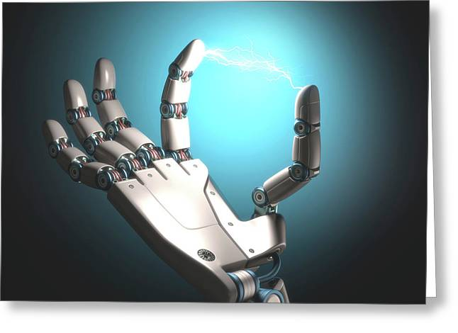 Robot Hand With Electric Connection Greeting Card