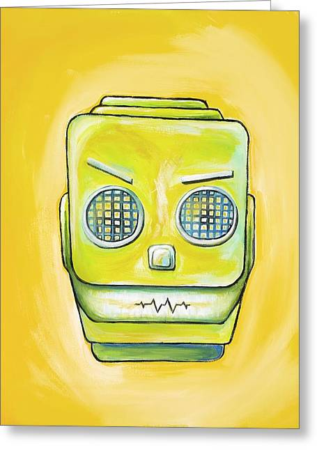 Robot Head Greeting Card by David Junod