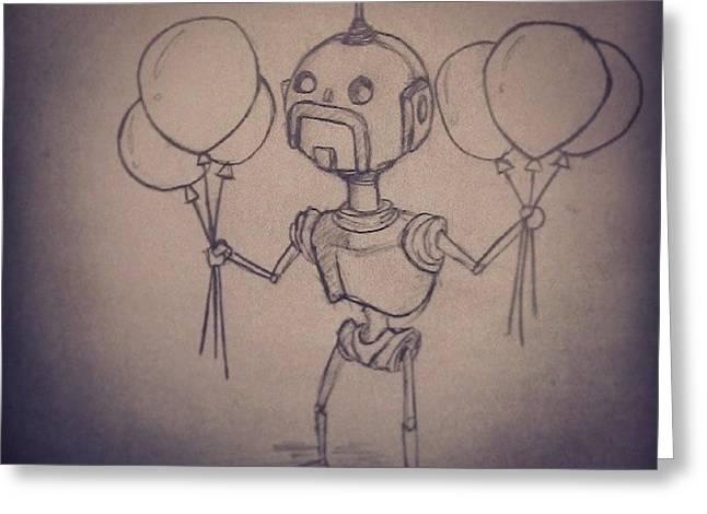 #robot #robots #moustache #handlebars Greeting Card