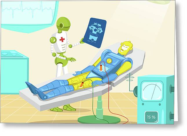 Robot Surgeon Examining Robot X-ray Greeting Card by Fanatic Studio / Science Photo Library