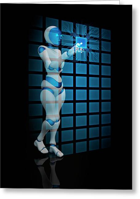 Robot Using Touch Screen Technology Greeting Card by Andrzej Wojcicki