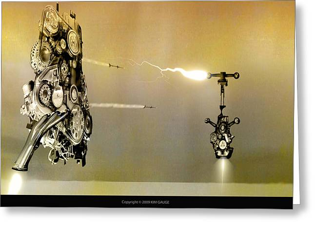 Greeting Card featuring the digital art Robot Wars by Kim Gauge