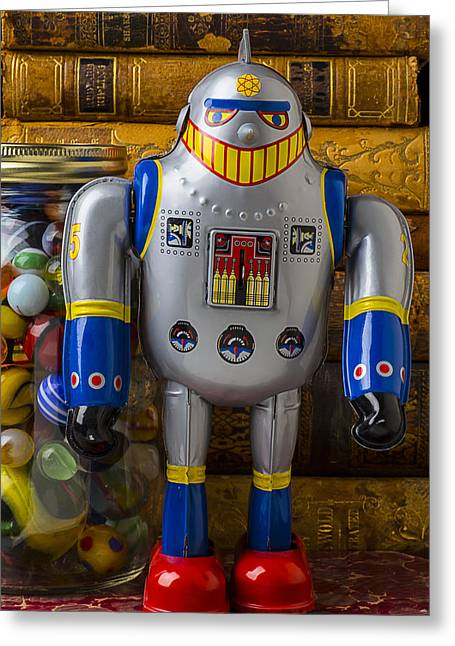 Robot With Marbles And Books Greeting Card by Garry Gay