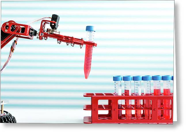 Robotic Arm Holding Test Tube Greeting Card