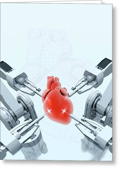 Robotic Arms Making A Heart Greeting Card by Victor Habbick Visions