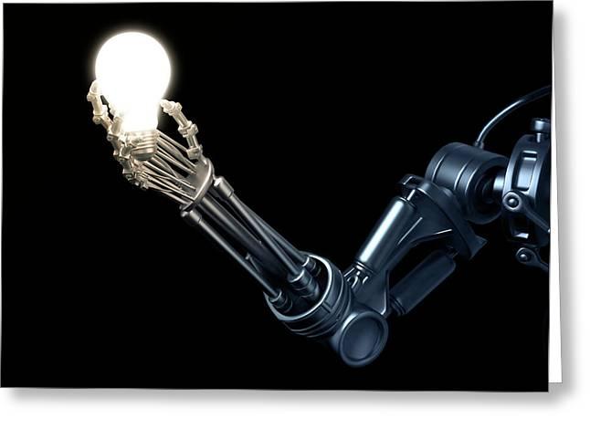 Robotic Hand Holding A Lightbulb Greeting Card by Andrzej Wojcicki