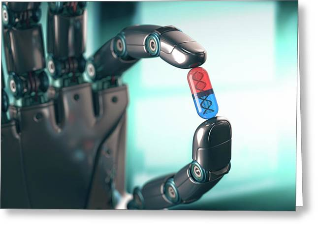 Robotic Hand Holding Capsule With Dna Greeting Card