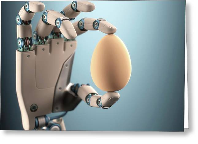 Robotic Hand Holding Egg Greeting Card by Ktsdesign