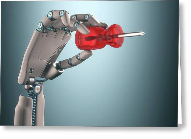 Robotic Hand Holding Screwdriver Greeting Card by Ktsdesign