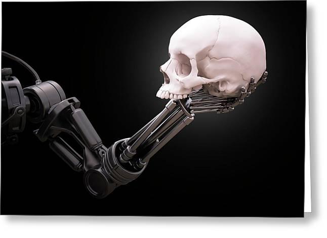Robotic Hand Holding Skull Greeting Card by Andrzej Wojcicki