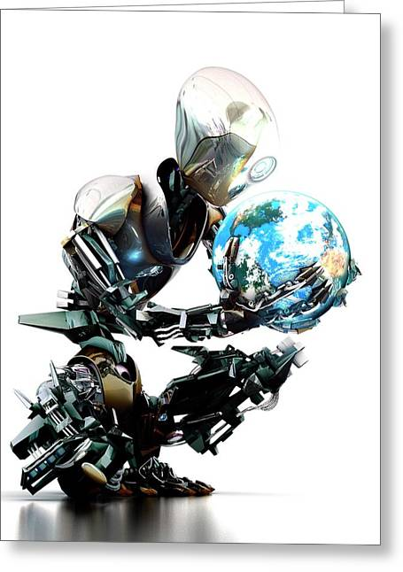 Robotic World Greeting Card by Animate4.com/science Photo Libary