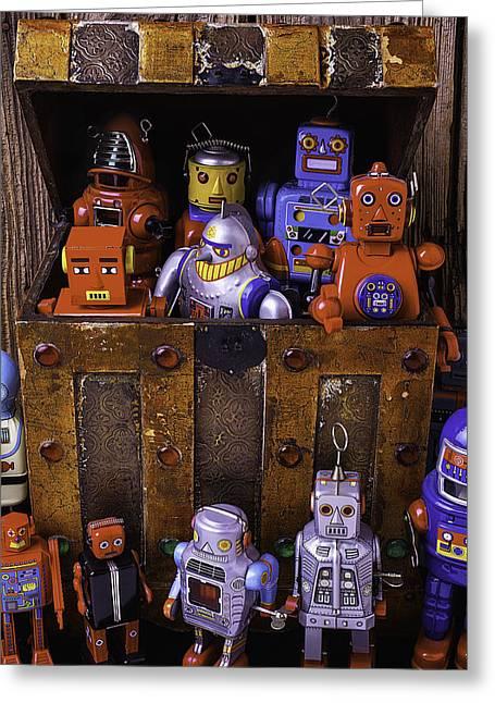 Robots In Treasure Box Greeting Card