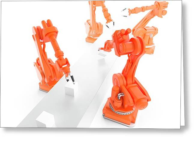 Robots On Production Line Greeting Card
