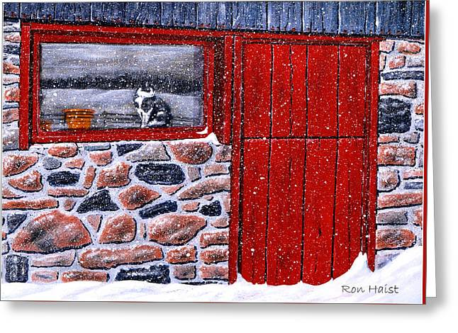 Greeting Card featuring the painting Rob's Barn by Ron Haist