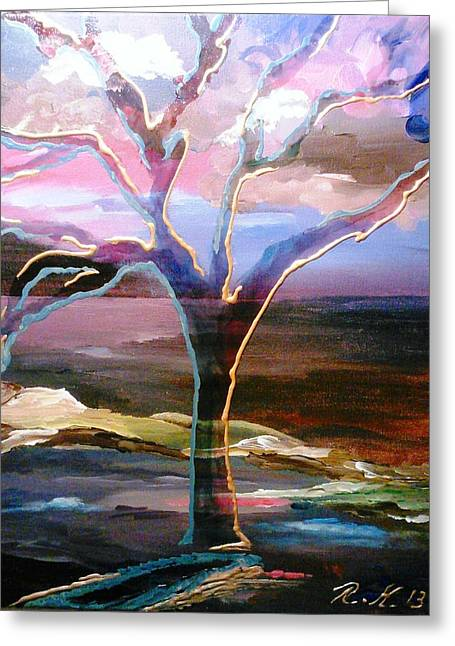 Greeting Card featuring the painting Robust Tree by Ray Khalife