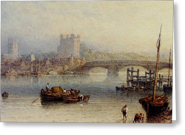 Rochester From The River Greeting Card by Myles Birket Foster