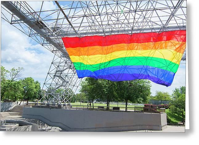 Rochester, New York, Gay Rainbow Flag Greeting Card by Bill Bachmann