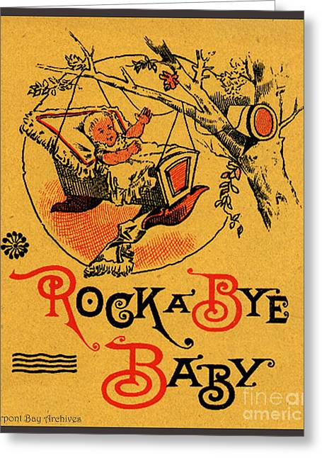 Rock A Bye Baby Sign With Cradle In Tree Branch.  Greeting Card by Pierpont Bay Archives